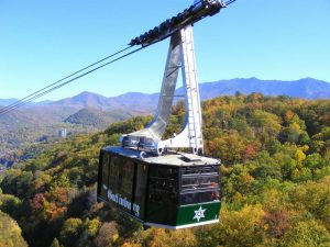 Tram from Gatlinburg to Ober Gatlinburg.
